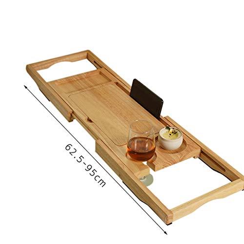 ZhaoLiRuShop Bathtub Trays Bath Caddy Bath Tray Bath Board Solid Wood Telescopic Non-Slip Bathtub Frame Mildew Bath Bracket Bath Tub Barrel Bath Bracket (Color : Natural, Size : 62.5-9520cm) by ZhaoLiRuShop (Image #5)