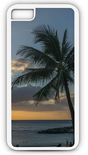 (iPhone 8 Plus 8+ Case Beach Sunset Hawaii Oahu Sun Rays Palm Tree Sky Customizable by TYD Designs in White Plastic Black Rubber Tough)