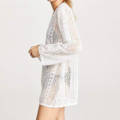 (VICCKI Women Fashion Lace Solid Coat Tops Suit Bikini Swimwear Beach Swimsuit Smock White )