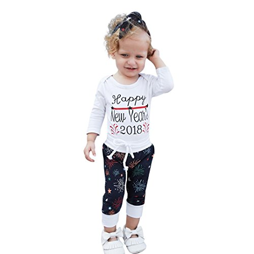 Staron Xmas Newborn Baby Boy Girl Romper Outfits Tops+Pants New Year Infant Costume (0-3 Months, (New Years Baby Costumes)