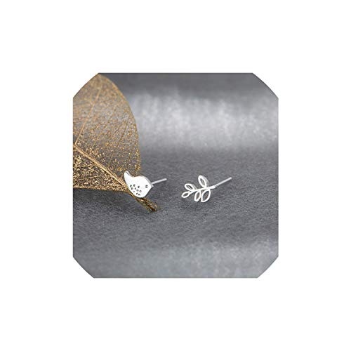 Art Small Fresh Leaves Small Ear Jewelry Cute Asymmetrical Brushed Bird Leaves Earrings,R503