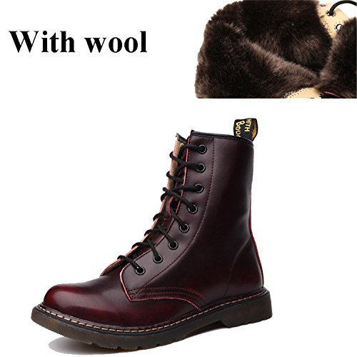 Wool Warm Tribble Winter Leather With Women Jeff Boots Boots Genuine Shoes Ankle Motorcycle Red Martin Fashion Z0Cwqx