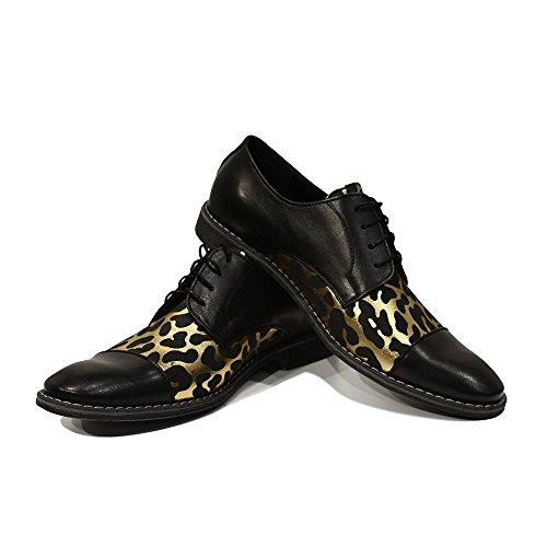 PeppeShoes Modello Raffaello - Handmade Italiano da Uomo in Pelle Oro Scarpe da Sera - Vacchetta Pelle Morbido - Allacciare