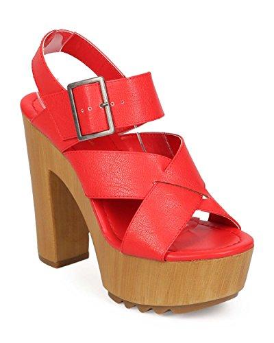 広告主女の子再現するマークMaddux ef23レディース合成皮革ピープトウ木製ブロックヒールSlingback Sandal – Red