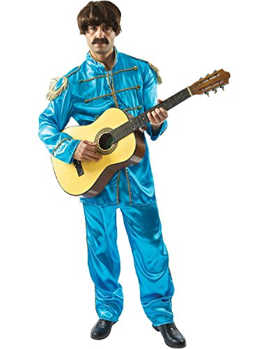 Mens Blue Beatles Sergeant Pepper Lonely Hearts 60s Pop Star Fancy Dress Costume