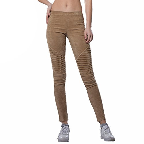 Bella Philosophy Women's Faux Suede Leggings Fold High Waist Retro Elastic Stretchy Slim ()