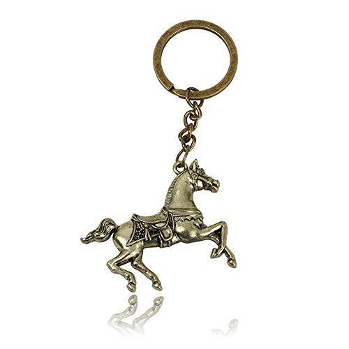 Goodscene Gift Keyring for Couple War Horse Pendant Metal Keyring Purse Hand Bag Car Charm Keychain Gift (Bronze)