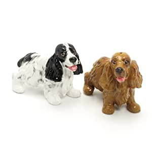 English Cocker Spaniel Dog Ceramic Figurine Salt Pepper Shaker 00008 Ceramic Handmade Dog Lover Gift Collectible Home Decor Art and Crafts
