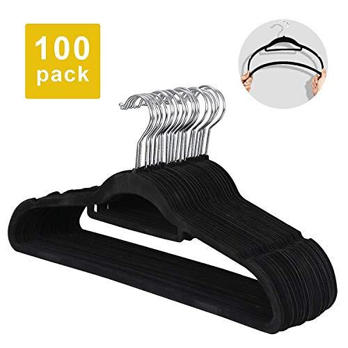 - Saturnpower Suit Hangers Ultra Thin Velvet Coat Hangers Non Slip Flocked Clothes Hanger 360°Swivel Hook 100 Pack/Lot,Black