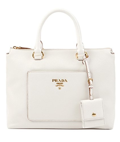 Prada Duffel (Wiberlux Prada Women's Pebbled Real Leather Gold Logo Detail Two-Way Carry Bag One Size White)