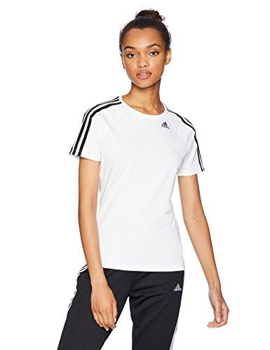 adidas Womens Training Designed 2 Move 3-Stripes Tee, White, Medium