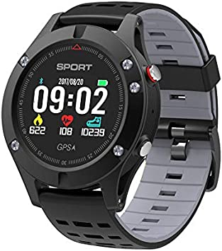 WWVAVA Reloj Inteligente Monitor de Ritmo cardíaco GPS Independiente Deporte Modo Multideporte Altímetro Bluetooth 4.2 Rastreador de Ejercicios Reloj Inteligente, Gris