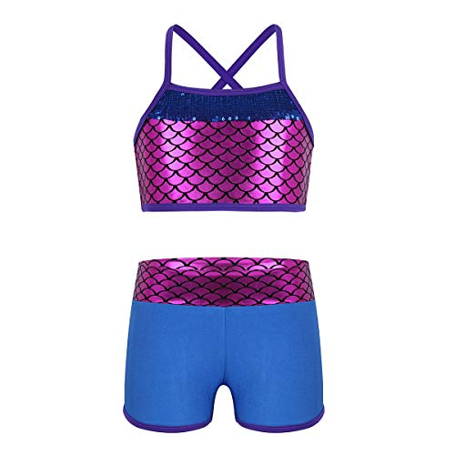 CHICTRY Child Girls Activewear Sequins Mermaid Tank Top & Shorts Set for Gymnastics Leotard Dancing
