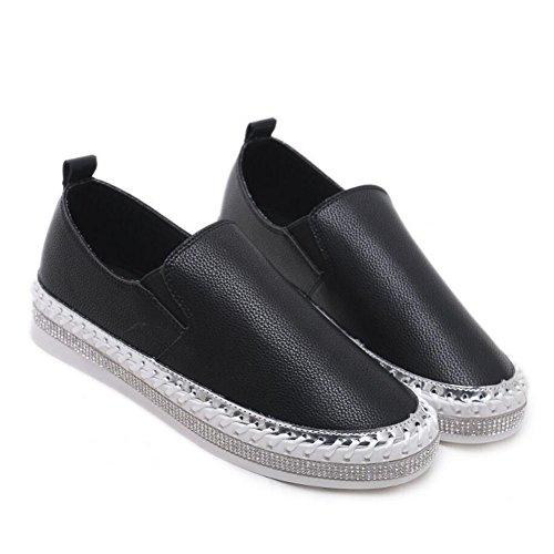 all'aperto Black GAOLIXIA nero Casual scarpe bianco casual piatte mocassini PU traspiranti scarpe Sneakers basse confortevoli Donna 7ZqBxw7