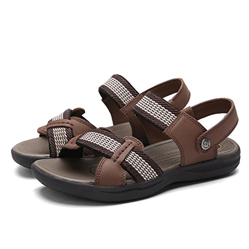 DEKESEN Leather Mens Weaven Genuine Sandals Sport Brown f8wOf