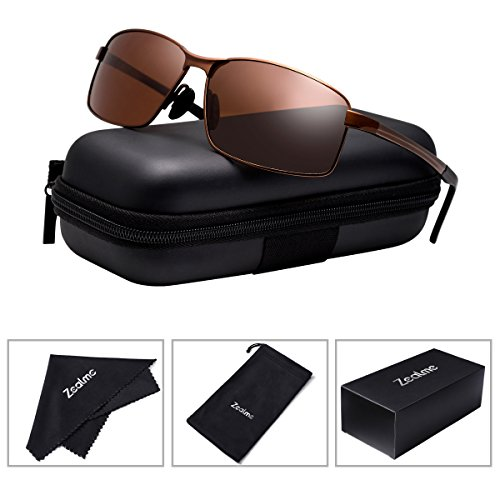 Frame Brown Lenses Light (Zealme Polarized Rectangle Sunglasses for Men Women TAC HD Vision Plastic Lens Lightweight Frame UV 400 Anti Glare Fashion for Driving Fishing Outdoor Sports ZL15 (Brown))