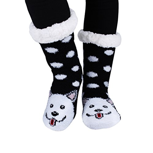 Kokkn Slip Womens Stockings Warm Slipper Dog Fuzzy Socks Highs Knee Cartoon Non Animal qqwzpdr