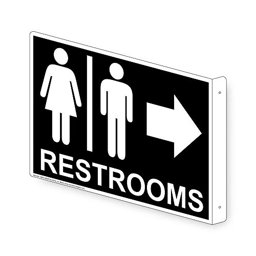 ComplianceSigns Aluminum Restroom - Public/Private sign, 9 x 7 inch Black