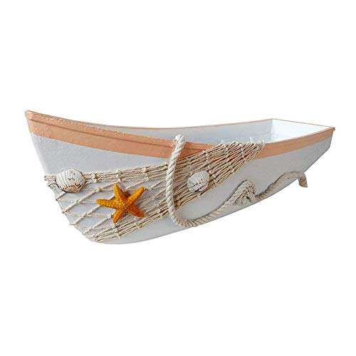 YK Decor Wood Boat Tray Decorative Ornament Nautical Boat Decor, Wooden Boat Decorations Beach Theme Home Bathroom Decor ()