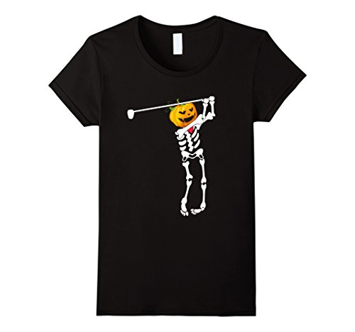 Womens Golf skeleton halloween shirt Pumpkin head Large Black (Funny Golf Halloween Costumes)