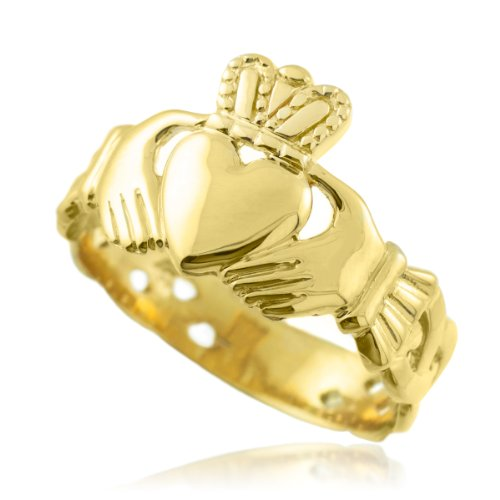Bold 14k Yellow Gold Men's Trinity Knot Band Irish Claddagh Ring (Yellow Gold Claddagh Ring)