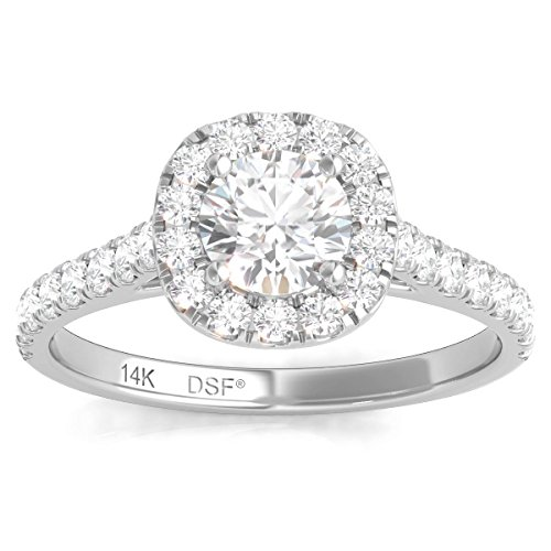 Diamond Engagement Certified Solitaire (Diamond Studs Forever 14K White Gold Diamond Halo Engagement Ring (1.00 Ctw IGI USA Certified GH/I1))
