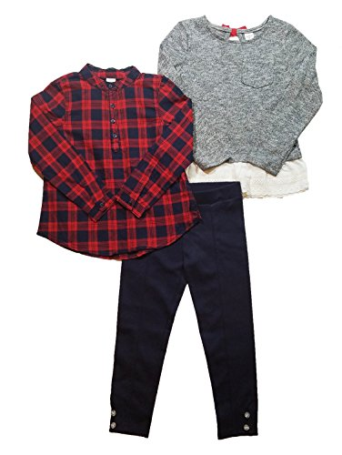 OshKosh BGosh Girls 3 Piece Pant Set with 2 Tops (Toddler) (6, Red Plaid / Blue)