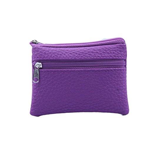 YJYdada Women Men Leather Wallet Multi Functional zipper Leather Coin Purse Card Wallet (Light Purple)