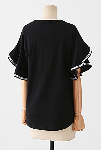 Tops Rond Tee Fashion Noir Flare Femme Taille Sleeve Col Casual Monika t Grande T Shirts Haut Blouses ZqEIwyO