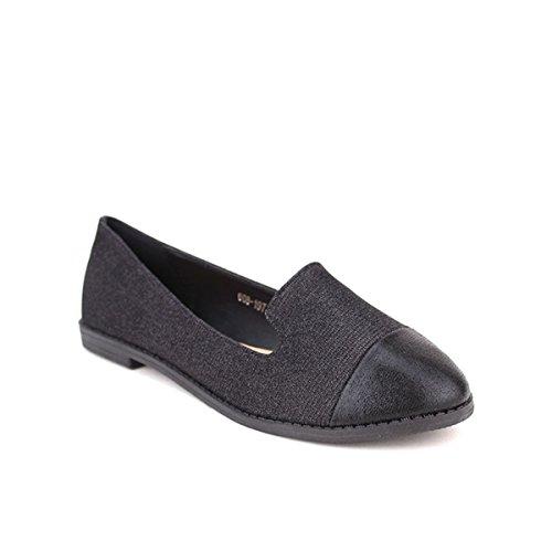 Femme Ballerine Chaussures Noir Liana Noire Cendriyon Brillante w7zXFq