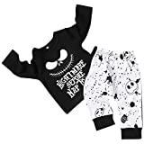 Toddler Baby Boy Clothes 2Pcs Outfit Set Nightmare Printing Long Sleeve and Skull Pants Clothing Set(0-6Month,70)