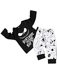 Toddler Baby Boy Clothes Halloween 2Pcs Outfit Set Nightmare Printing Long Sleeve and Skull Pants Clothing Set