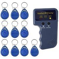 Amerryllis Handheld 125KHz EM4100 RFID Copier Writer Duplicator Programmer Reader + 10pcs EM4305 Rewritable ID Keyfobs Tags Card