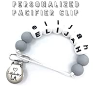 Personalized & Customized Name Pacifier Clips   Binky Dummy Paci Leash Clip   Boy Girl Gender Neutral Baby Shower Gift   Unique Handmade Teething Accessory   Made in USA   Marble Blue Grey Mint Pink  