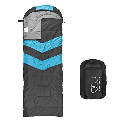 Sleeping Bag - Sleeping Bag for Indoor & Outdoor Use - Great for Kids, Boys, Girls, Teens & Adults. Ultralight and Compact Bags for Sleepover, Backpacking & Camping (Gray / Sky Blue - Right Zipper)