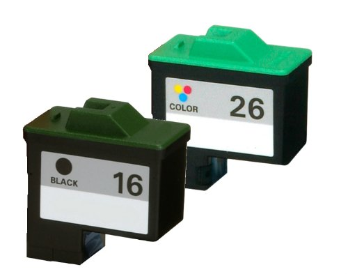 HouseOfToners Lexmark 16 & 26 Ink Cartridge Remanufactured In USA 10N0016 10N0026 For X75 X1185 X2250 X1150 2PK (Alternative Replacement) (Remanufactured 10n0016 Cartridge Inkjet Black)