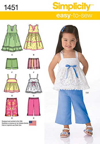 Simplicity 1451 Easy to Sew Toddler Girl's Dress, Top, Cropped Pants, and Shorts Sewing Patterns, Sizes 1/2-4