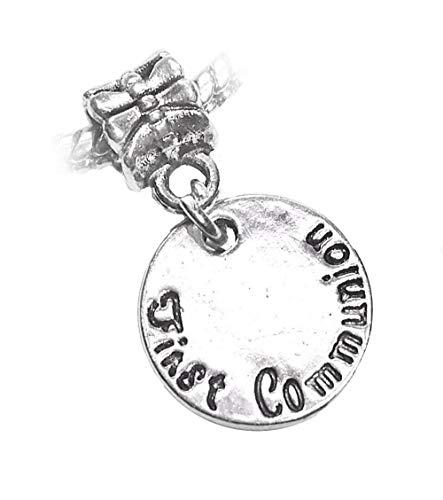 1st First Communion Christian Medallion Dangle Charm for European Slide Bracelet id-944 ()