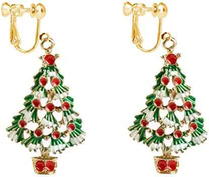 c19833953 Green Christmas Tree Clip on Earrings Dangle for Women Teens Girls Kids  Santa Xmas Jewelry Hypoallergenic