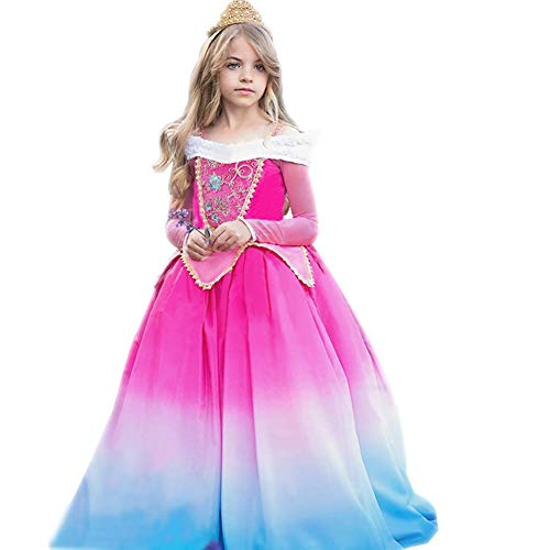 Princess Aurora Dress for Girls Gradient Party Dress up Halloween Christmas Costume Sleeping Beauty Princess Long Gown Pageant Maxi Dress for Kids Baby Carnival Cosplay Photo Shoot Hot Pink+Blue 9-10Y