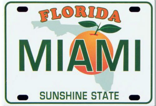 Miami Florida License Plate Fridge Collector's Souvenir Magnet 2.5
