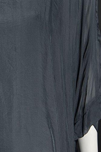 Tunika Bluse Sexy Seide Fledermaus Italy Anthrazit 38 40 42 44