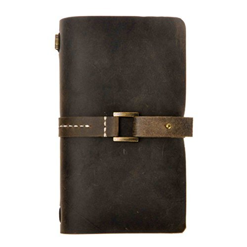 ZLYC Classic Vintage Style Handmade Refillable Travelers Blank Pages Leather Journal Diary Notepad Notebook Brown 1