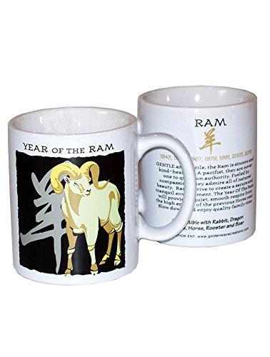 Asian Oriental Chinese Zodiac Coffee & Tea Mug Year of the Ram: Birth years 1931, 43, 55, 67, 79, 91, 03, 2015