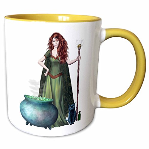 3dRose Blonde Designs Happy and Haunted Halloween - Halloween Witch Cauldron Cat - 11oz Two-Tone Yellow Mug (Happy Halloween Witch Pics)