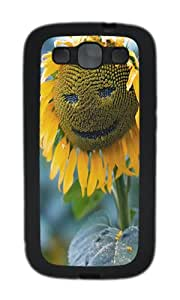 Samsung S3 Case,VUTTOO Cover With Photo: Smile Sunflower Face For Samsung Galaxy S3 I9300 - TPU Black