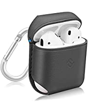 Fintie AirPods Genuine Leather Case, Slim Fit Protective Cover Skin with Carabiner for Apple AirPods 1 and AirPods 2 Charging Case, Gray
