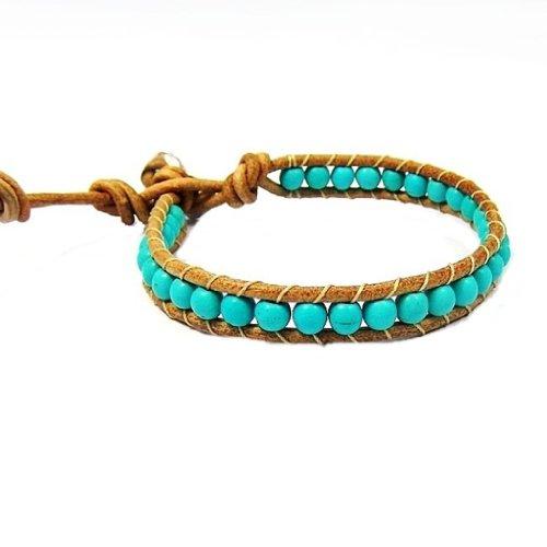 AeraVida Simulated Turquoise Nude Leather Bracelet by AeraVida (Image #1)