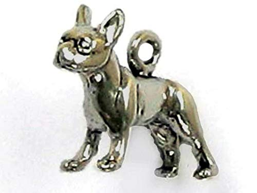 (Sterling Silver 3-D Boston Terrier Dog Charm Vintage Crafting Pendant Jewelry Making Supplies - DIY for Necklace Bracelet Accessories by CharmingSS)