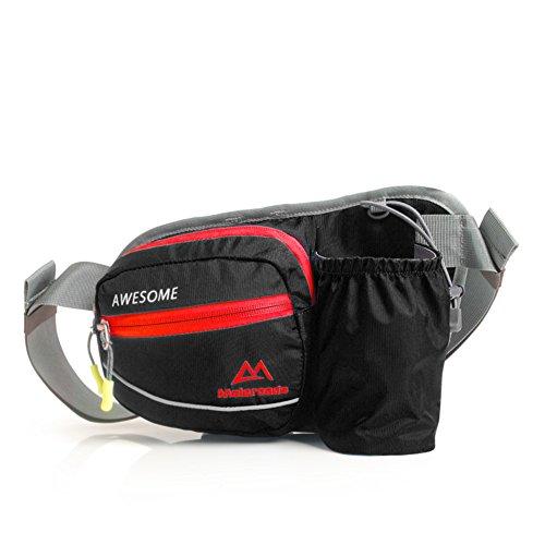 Funcionamiento bolsa de cintura/Bolsillos de botella de deportes/Paquetes corrientes Off-Road al aire libre/Maratón para hombres y mujeres/Bolsillos exteriores-Rosa roja negro